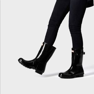 • Hunter • Original Short Gloss Rain Boots Black 7